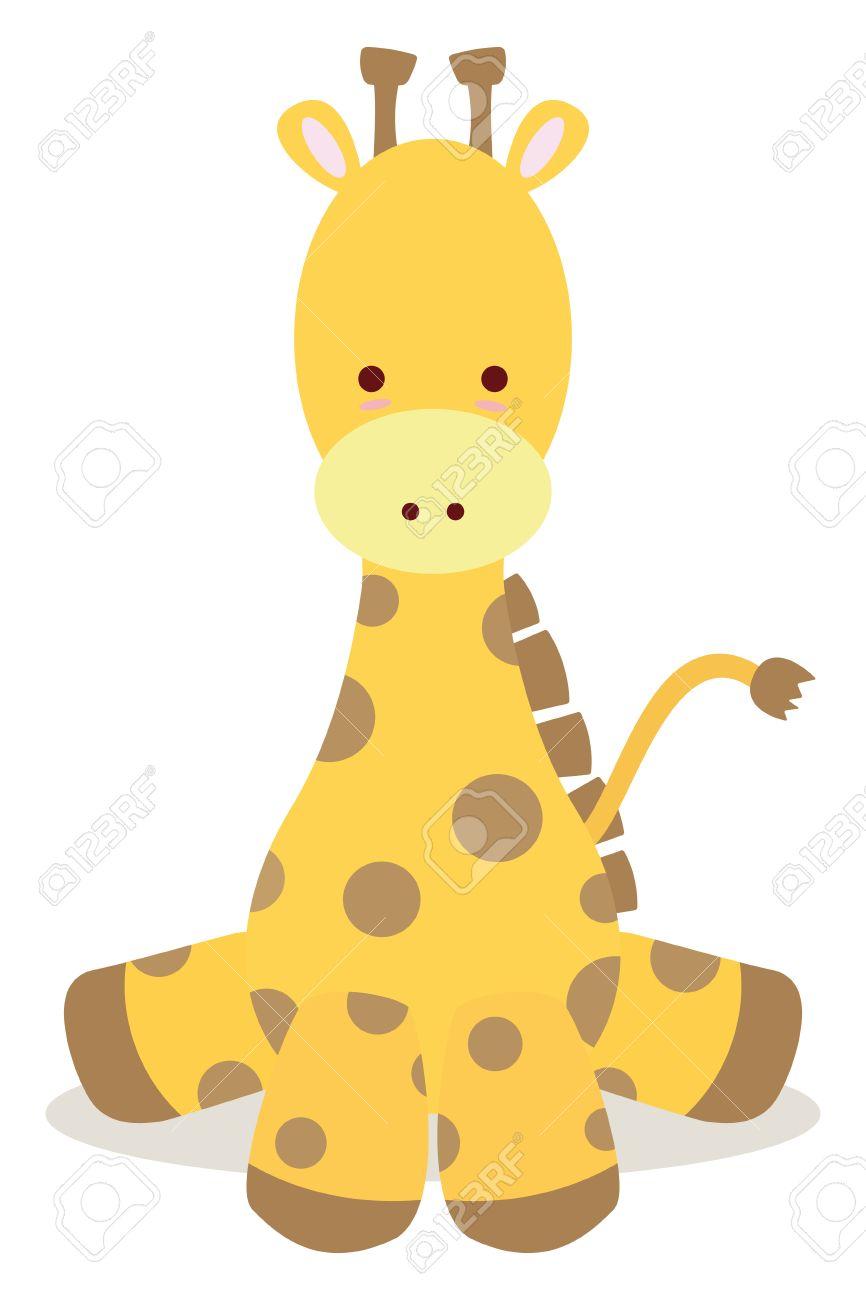 baby giraffe sit down like cute style.