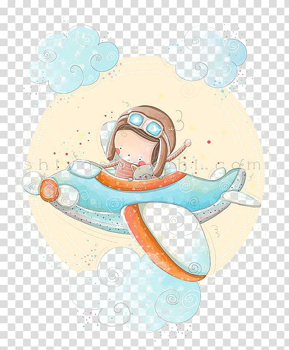 Airplane Cartoon Child , fly boy transparent background PNG.