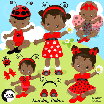 Ladybug Clipart, African American Baby Girls, {Best Teacher Tools} AMB.