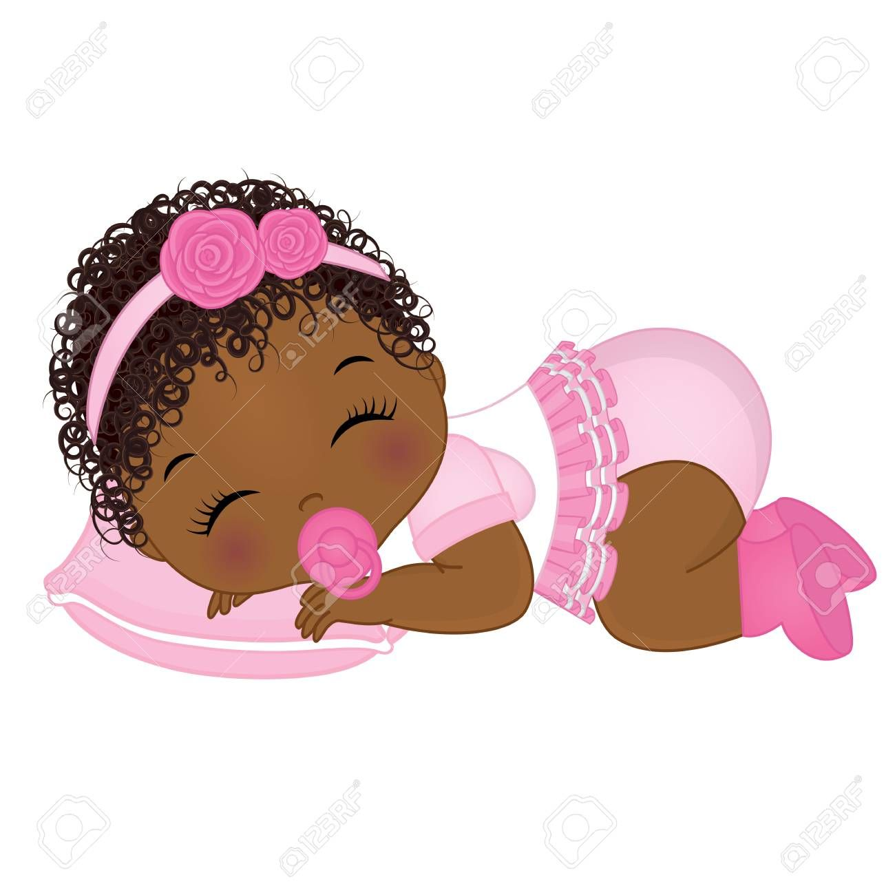 Vector cute African American baby girl sleeping. Vector baby.