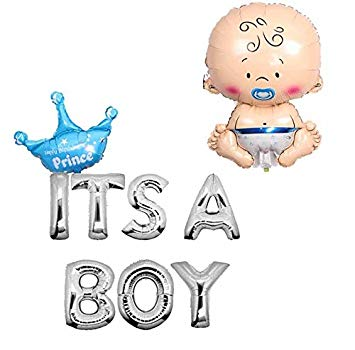Amazon.com: Yalulu Letter Foil Crown Balloons Its a boy girl.