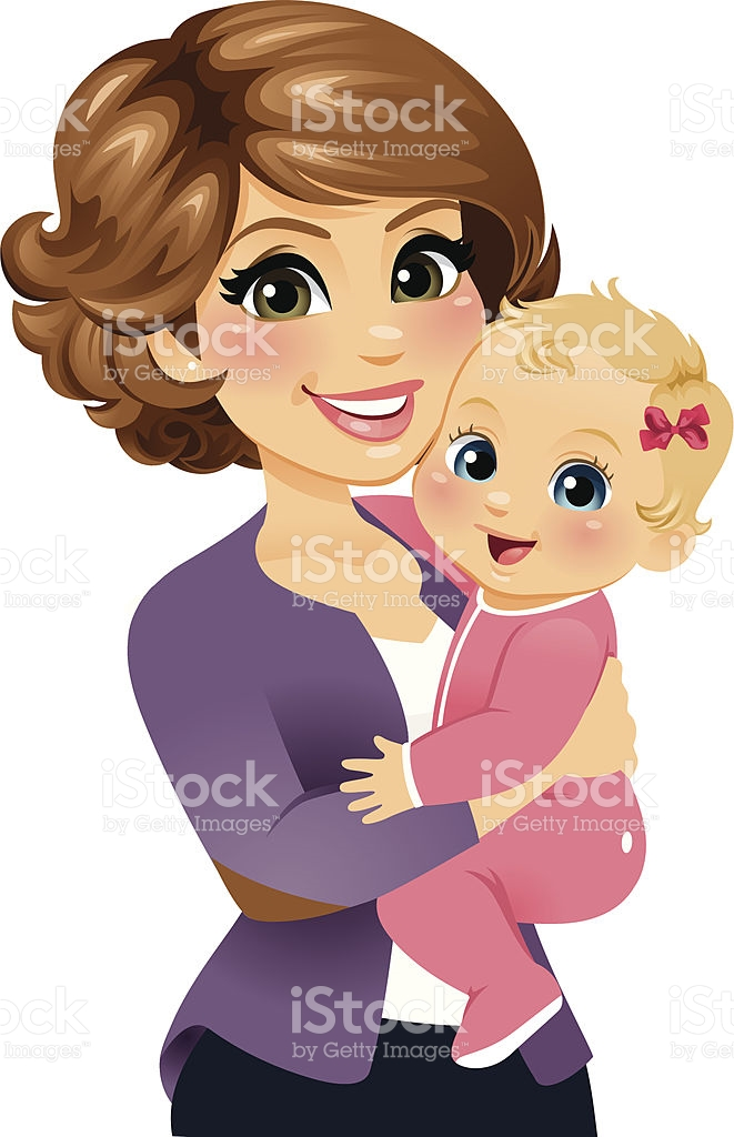 Baby Girl And Mother Clipart.