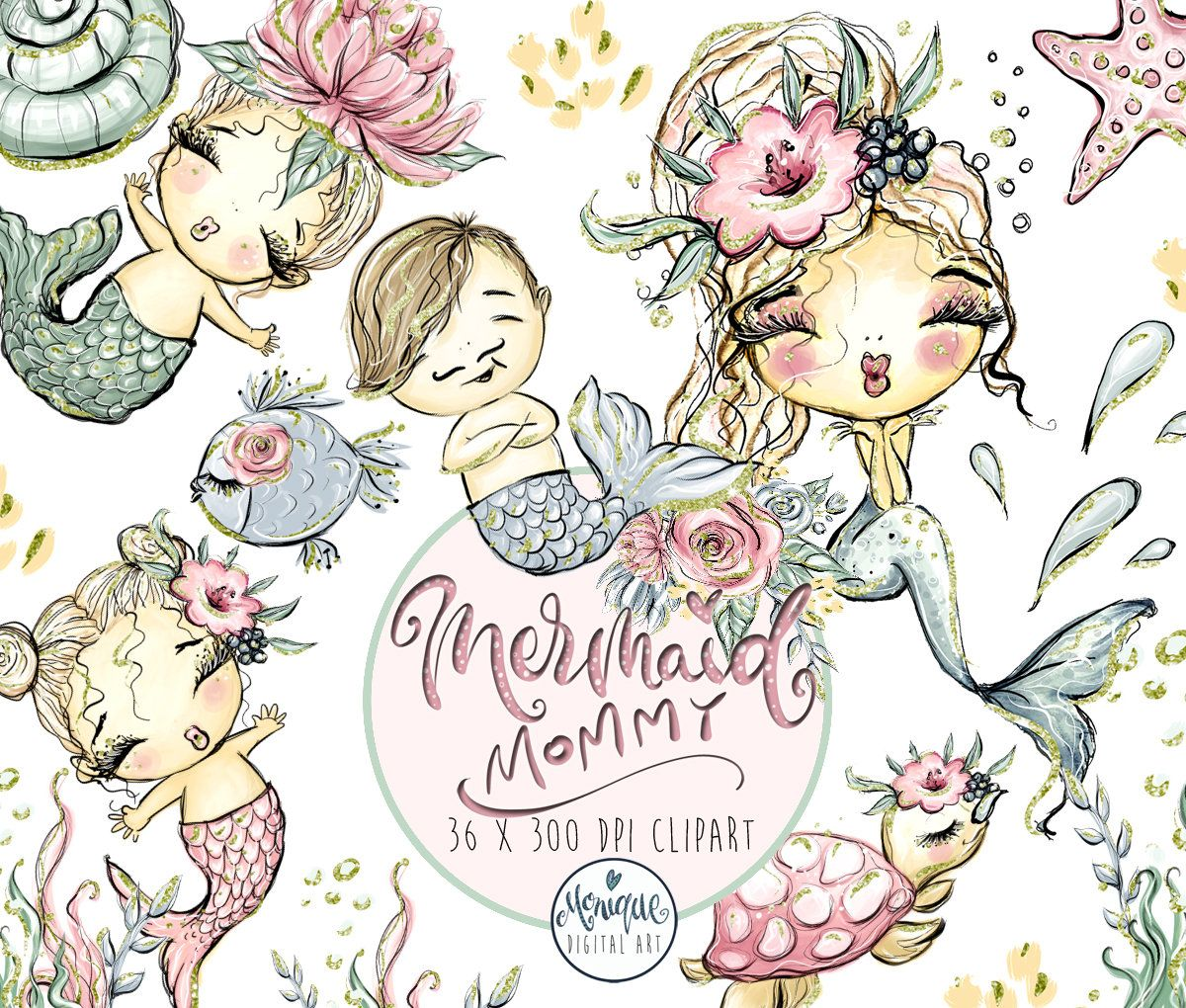 Mermaid Mom Clipart Glitter, Mother and baby clipart.