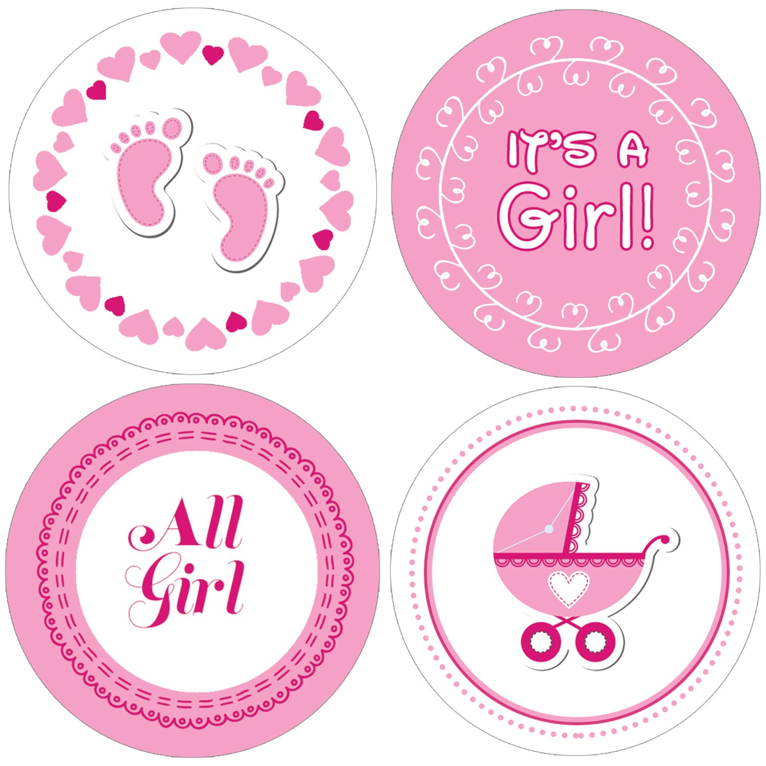 It's a Girl Baby Shower Favor Stickers.