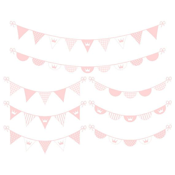 Digital banner clipart pink digital bunting clipart baby.