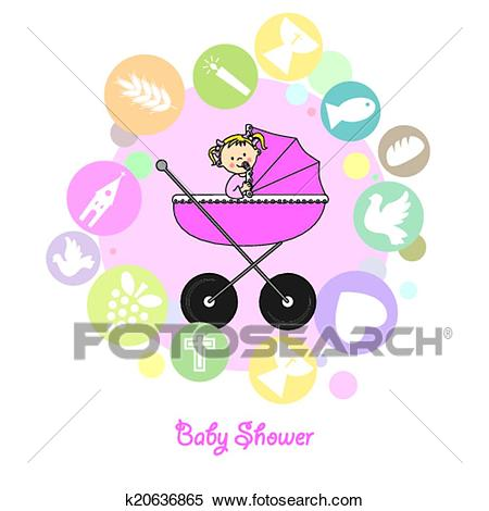Baby girl baptism invitation card Clipart.