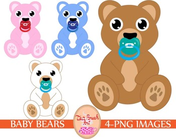 Bear cute children toy clipart png pink blue pacifier kid baby boy baby girl.