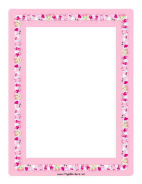 This baby girl border in tones of pink features many items from a.