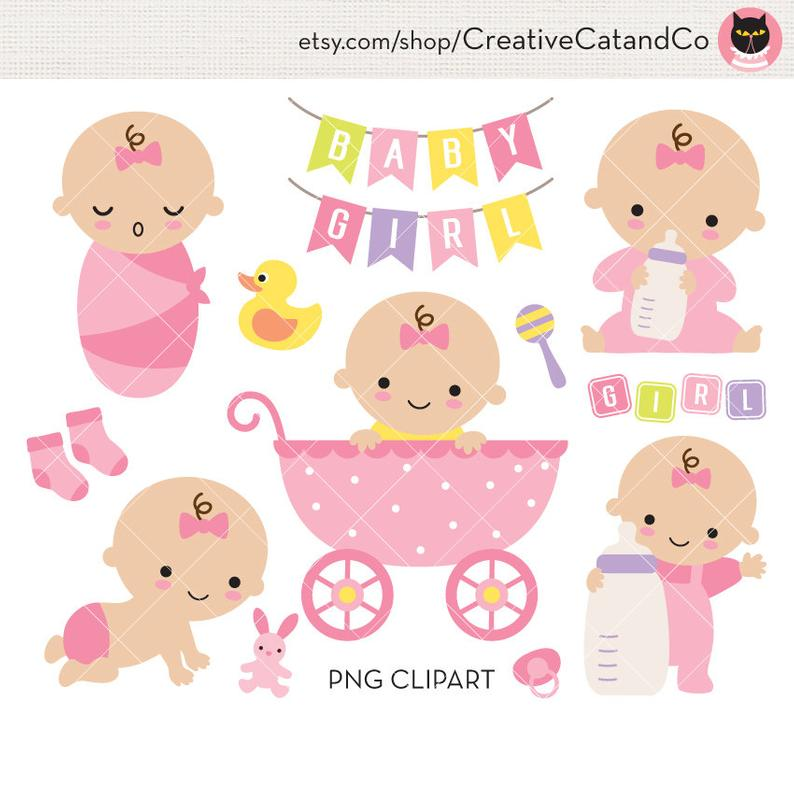 Baby Girl Shower Clipart Clip Art Cute Baby Girl in Stroller with Milk  Bottle Birthday Invitation Banner Sign Commercial Use.