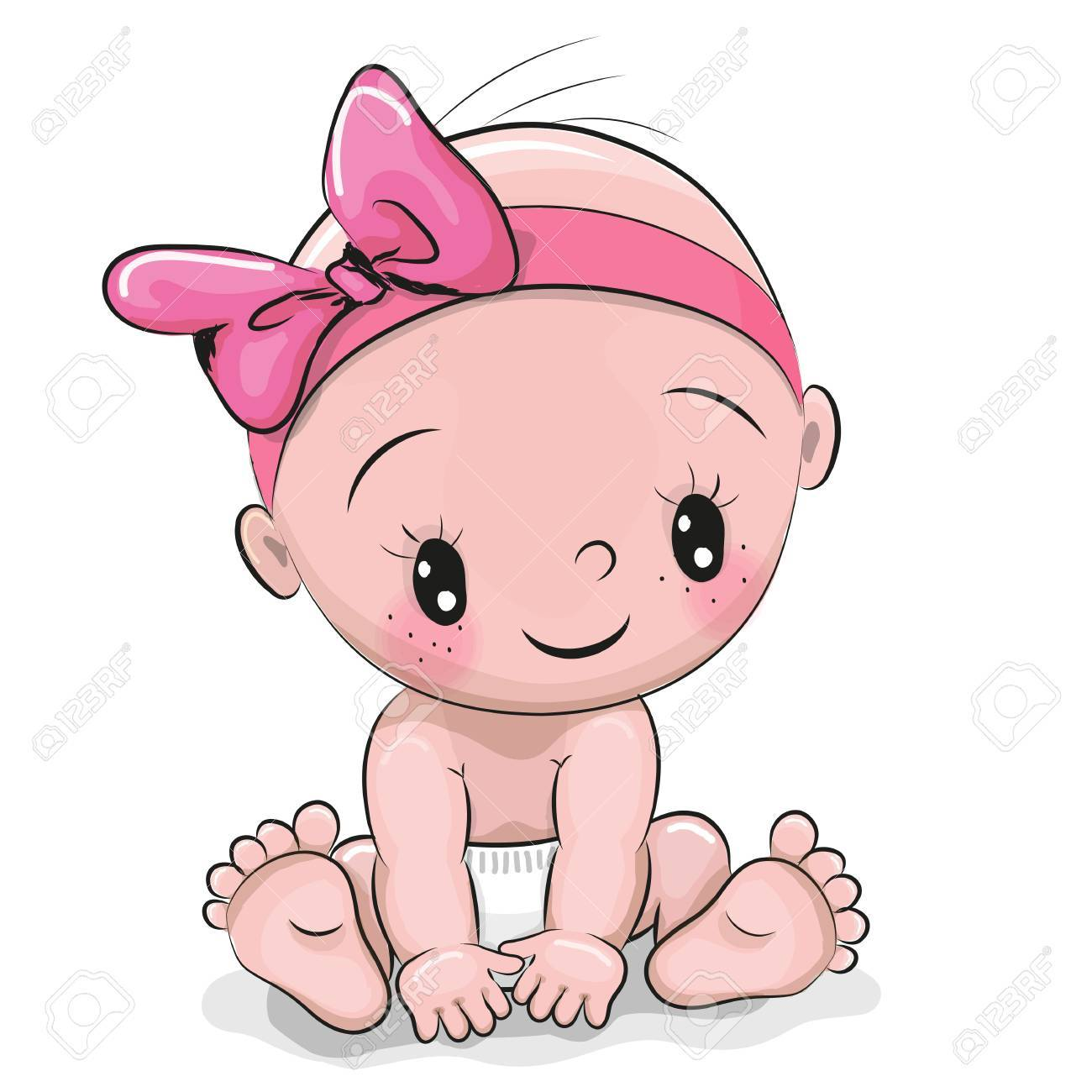Cute cartoon baby girl isolated on a white background.
