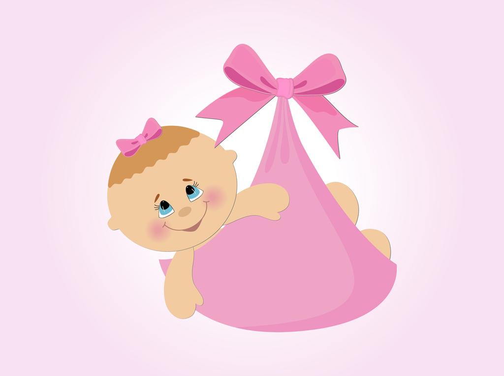 Baby Girl Vector Cartoon Vector Art & Graphics.