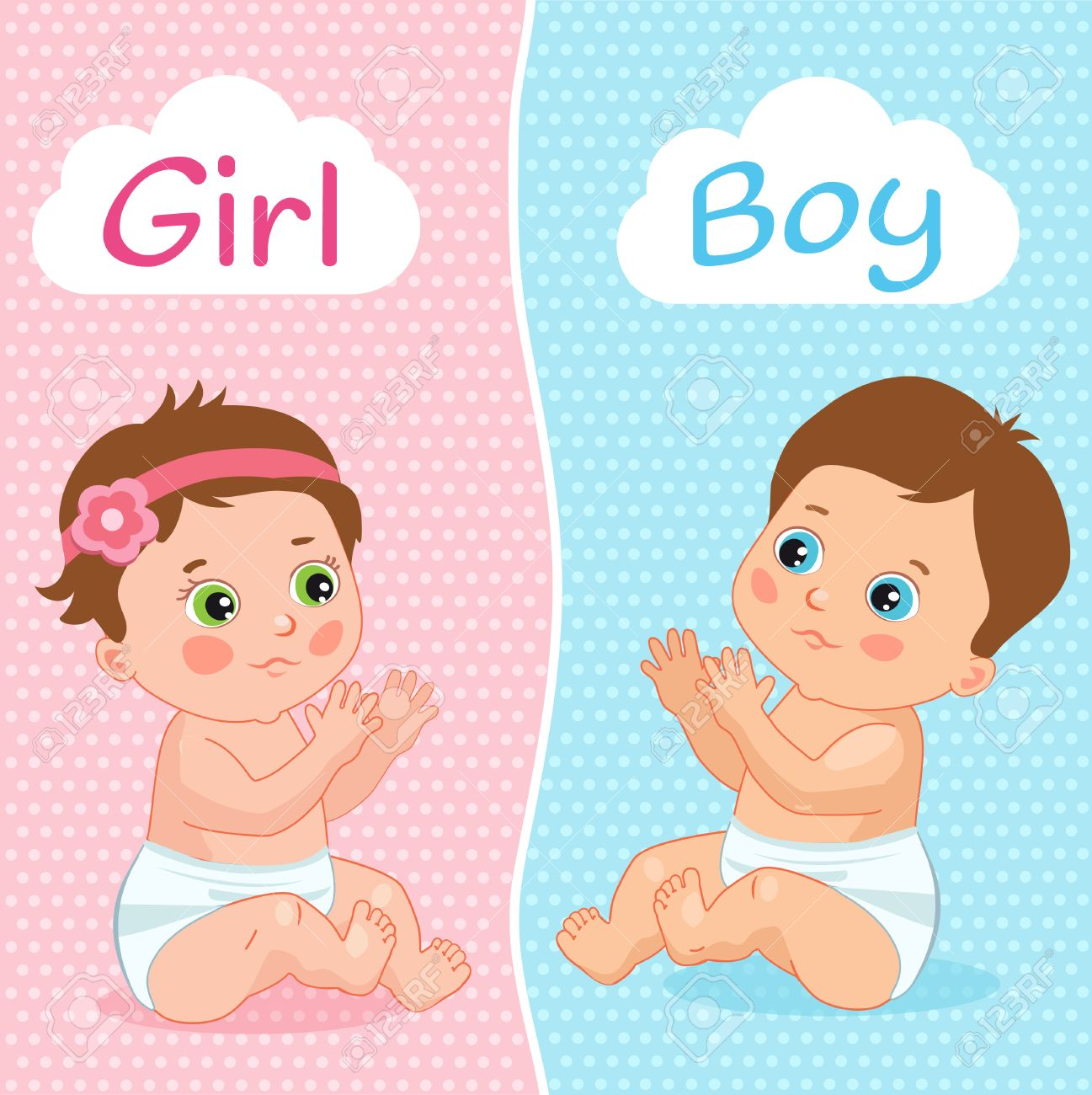 Baby Boy And Baby Girl Vector Illustration. Two Cute Cartoon...