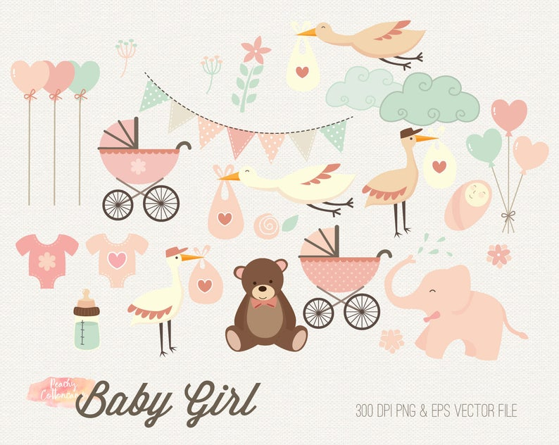 BUY 2 GET 1 FREE Baby Girl Clipart.