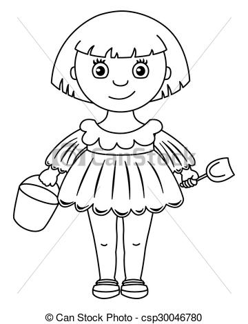 Little girl in dress with bucket and shovel.