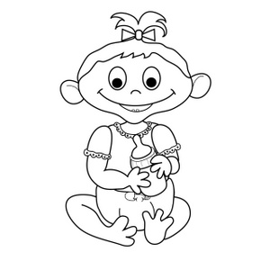 Baby girl clipart black and white 1 » Clipart Station.