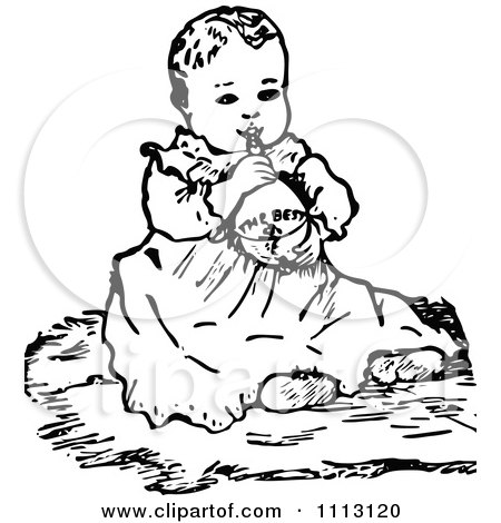 Clipart Vintage Black And White Baby Girl.