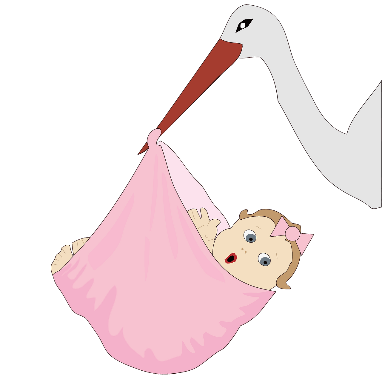 Stork with a baby girl clipart. Free download..