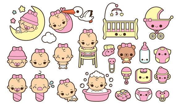 Kawaii baby clipart, baby girl clipart, cute baby girl.
