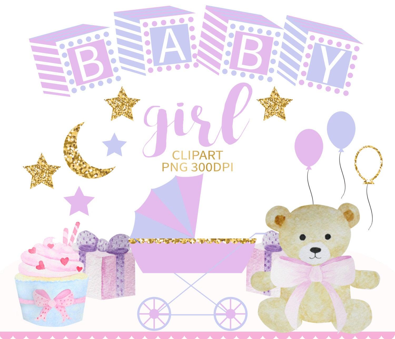 Baby Girl Clipart, Nursery Clipart, Baby Shower Clip Art, Baby Clip Art,  Baby Printable, Pink Baby Clipart Shower Invitation Teddy Bear Cake.