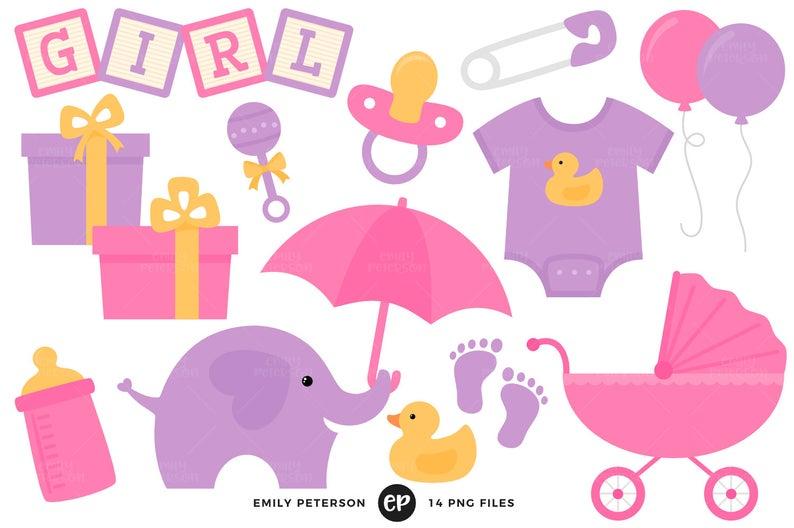 Baby Shower Clip Art, Baby Girl Clipart, Nursery Clip Art.