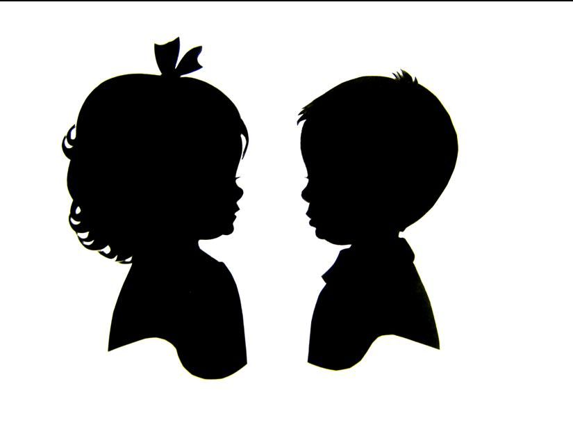 Baby Boy And Girl Silhouette.