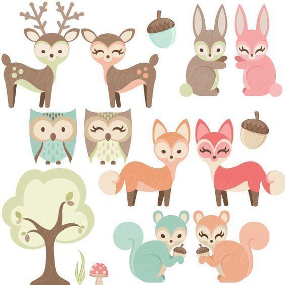 Woodland Nursery Clipart, Baby Animals Clip Art, Forest.