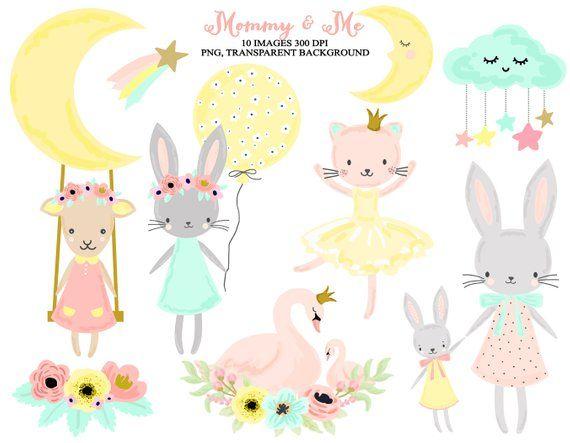 Nursery Woodland Animals Baby Girl Clip Art.