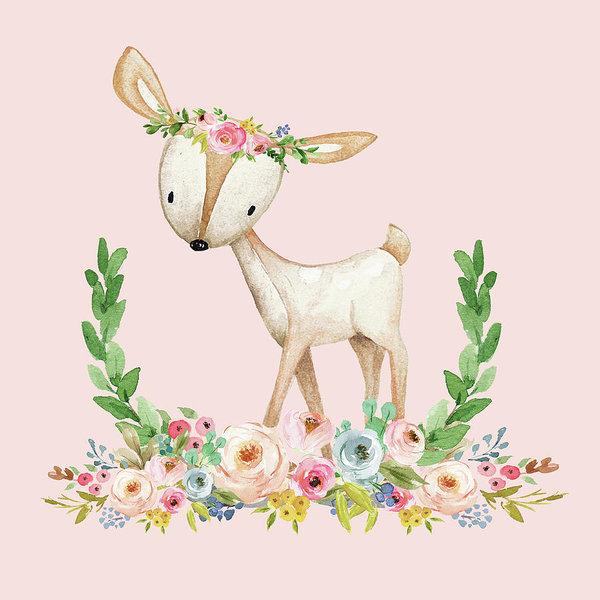 Boho Woodland Baby Nursery Deer Floral Watercolor Print Baby Girl Throw  Pillow Nursery Decor Art Print.