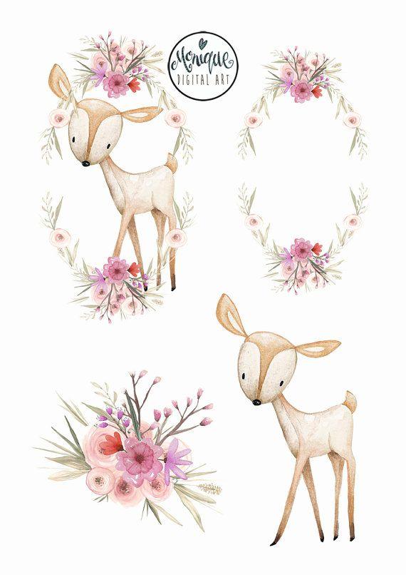 Deer wreath crown clipart, Woodland watercolor clipart.