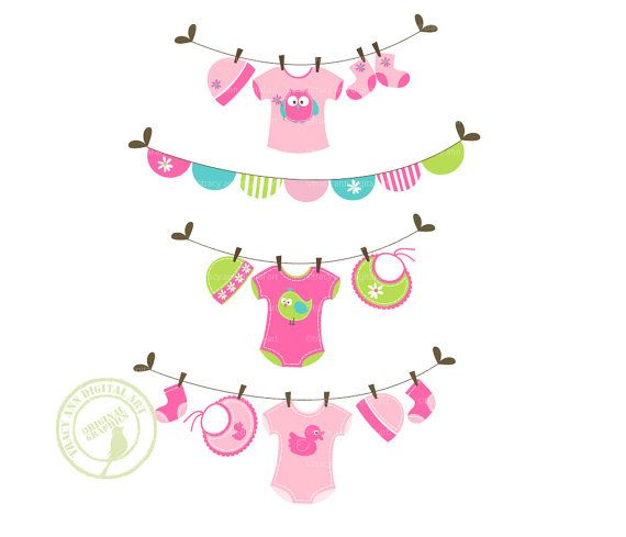 Jellybean Baby Laundry Line Clip Art, Baby Clothes line Clip Art.