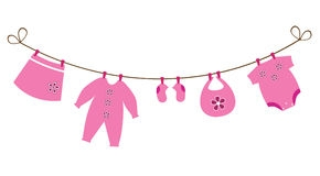 Free Baby Girl Clipart Line Stock Clothesline Clothes.