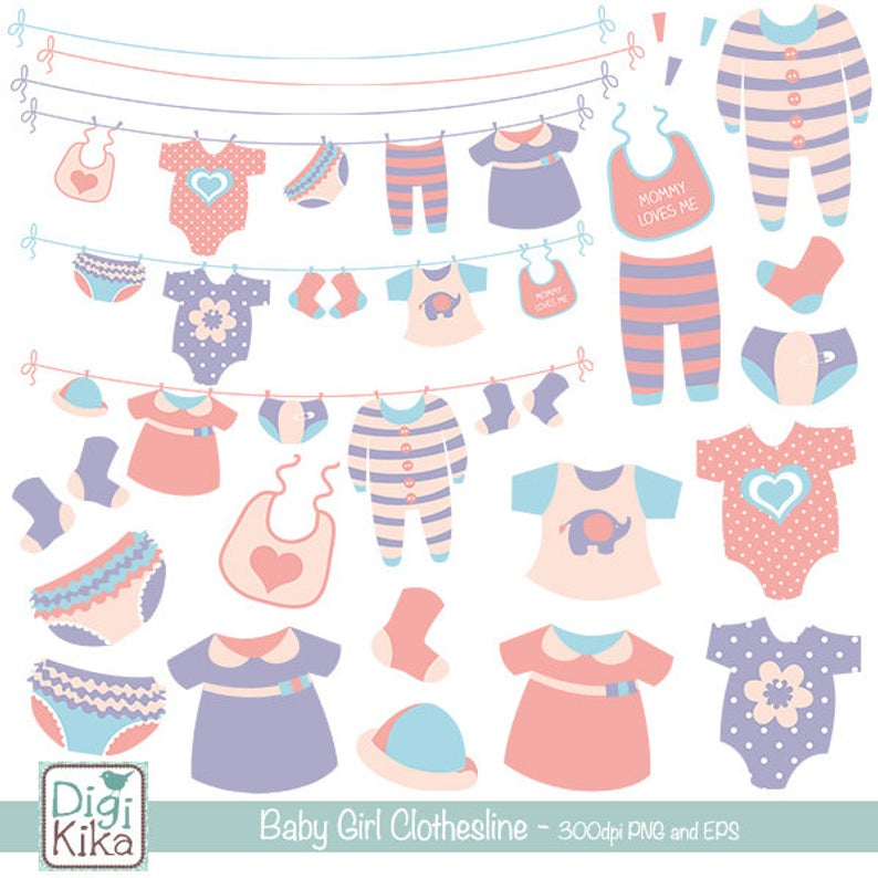 Girl Baby Clothesline clip art, baby clothing, girl announcement, girl baby  shower, baby shower, vector EPS.