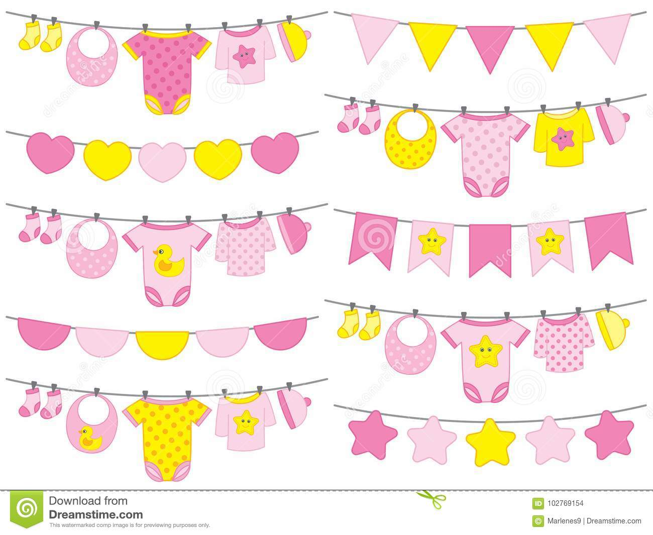 Vector Baby Girl Clothes Hanging On Line Stock Vector.