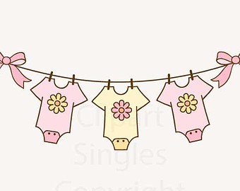 Baby Girl Clothesline Clipart.