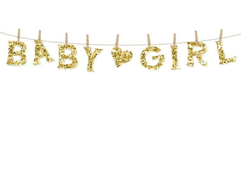 Gold Sparkles Baby Girl Clothesline Clipart.