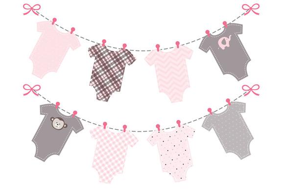 Baby Onesie Clothes Line Clip Art Baby Girl Pink Onesie Bunting.