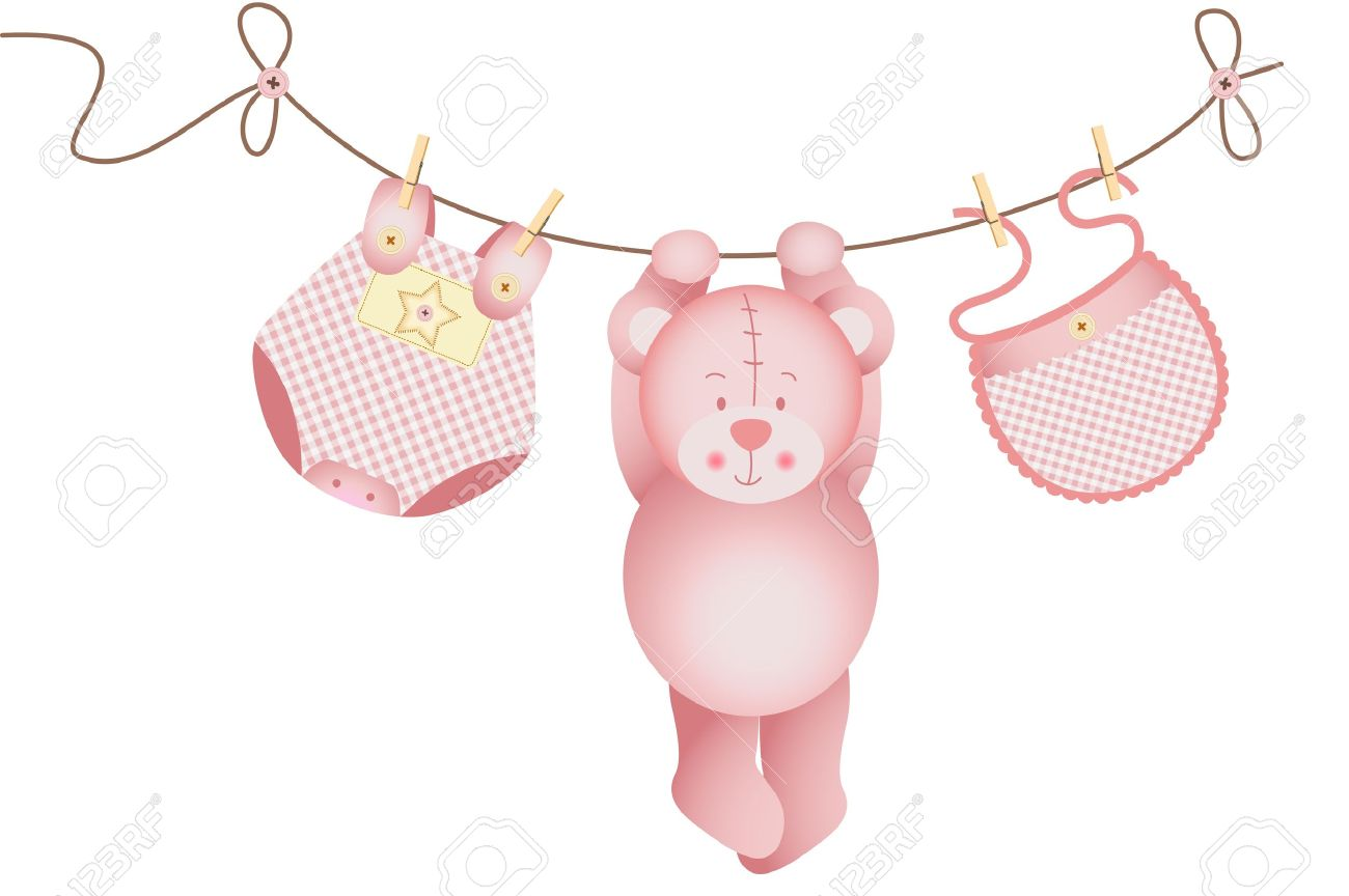 Teddy bear baby girl hanging on a clothesline.