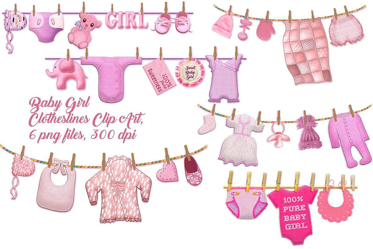 Baby Girl Clothes Lines Clip Art.