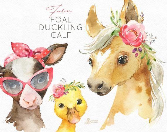 Farm Foal Calf Duckling. Watercolor little animals clipart.