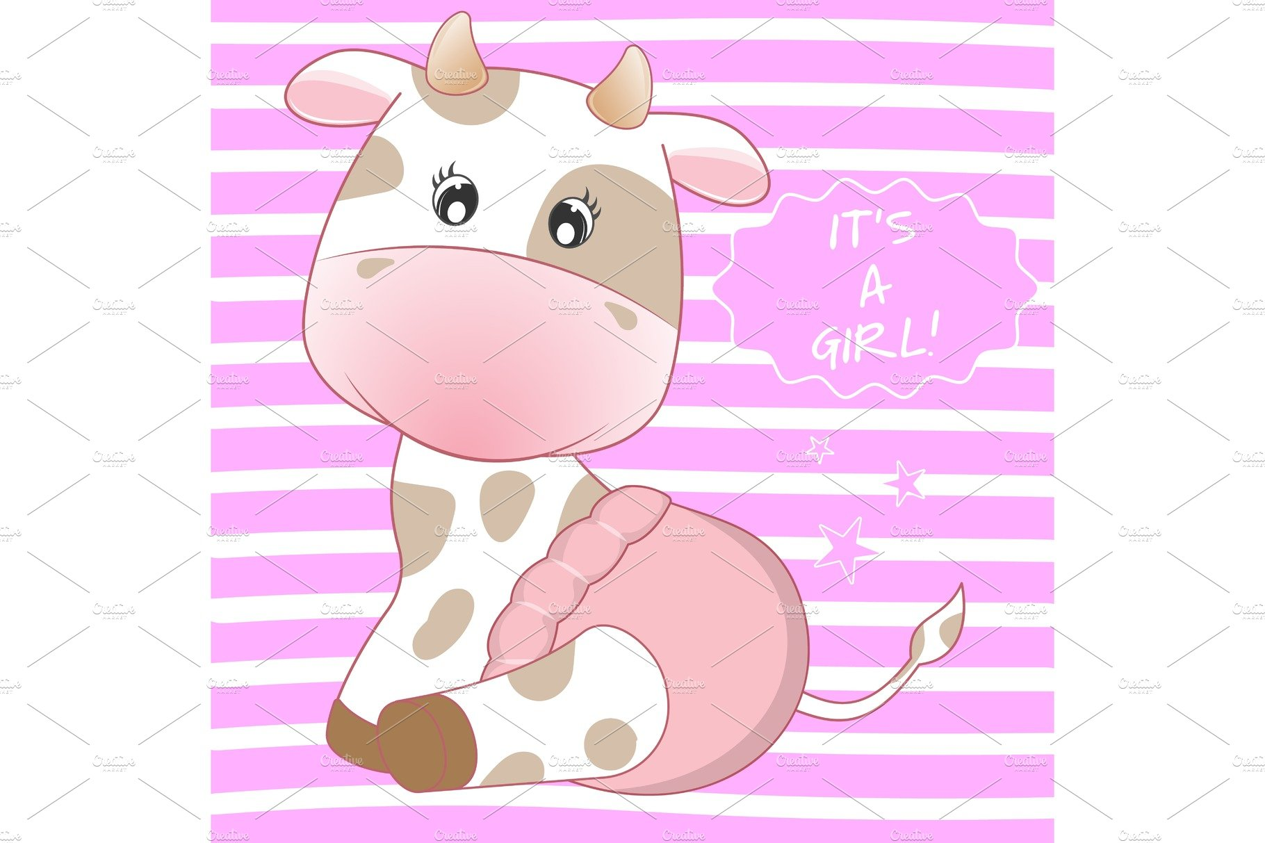 Baby Cow in a pink diaper smiling..