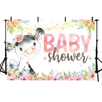 MEHOFOTO Pink Cow Baby Shower Party Photo Studio Booth Background Props  Farm Animal Floral Baby Girl Shower Party Decoration Banner Backdrops for.