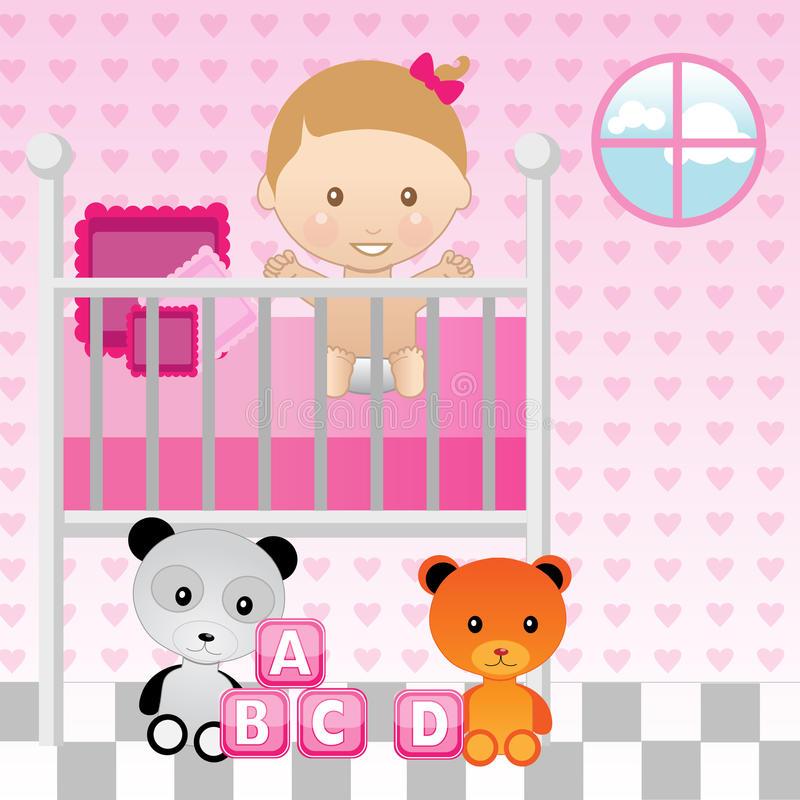 Girl Crib Stock Illustrations.