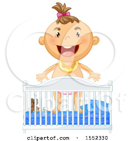 Clipart of a Baby Girl Standing in a Crib.