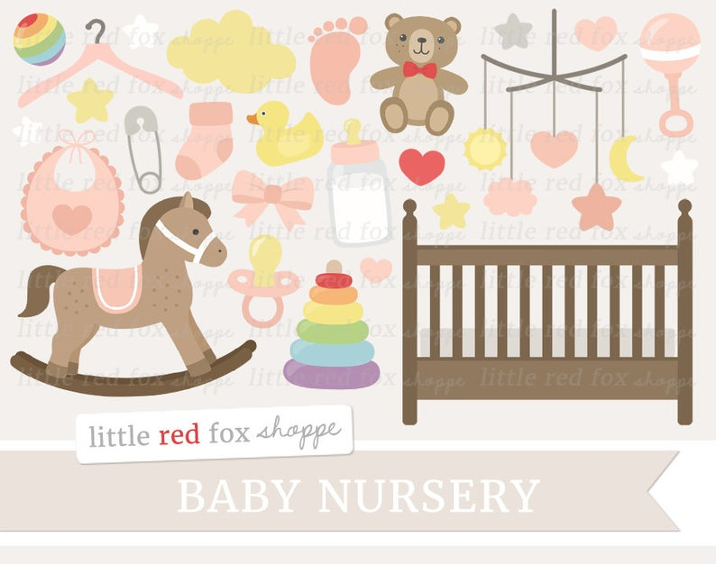 Baby Girl Clipart, New Baby Clip Art, Baby Shower Clipart, Crib Clipart,  Rocking Horse Clipart, Digital Graphic Design Small Commercial Use.