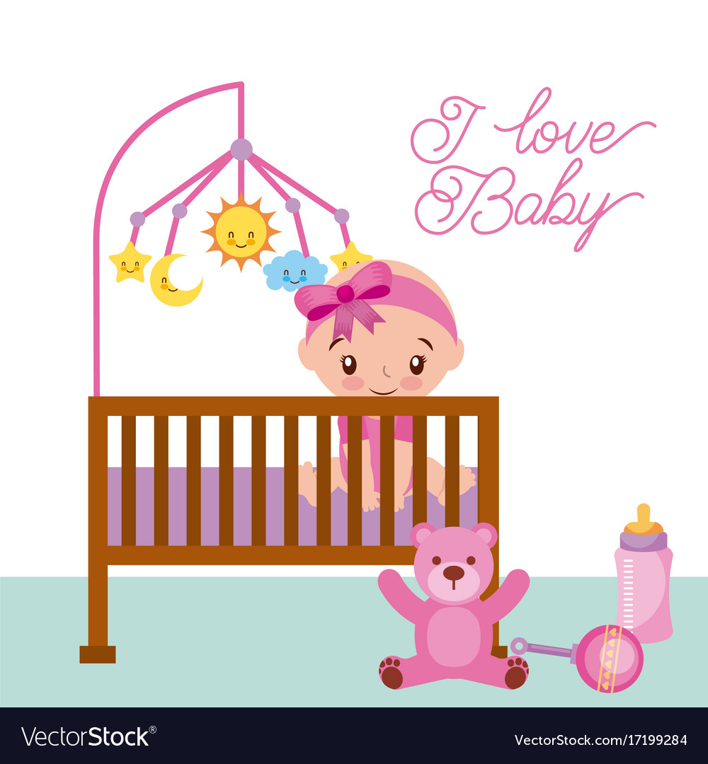 Happy sitting baby girl is in the crib with teddy.