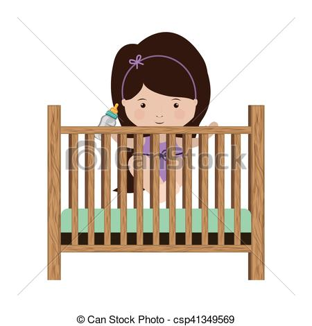 girl standing in crib with baby bottle.