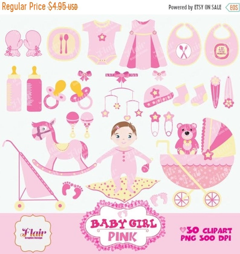 80% OFF BABY GIRL Digital Clipart, Pink, Baby Shower, Baby Crib, Baby  Bottle, Bibs, Stroller, Baby Vector, Scrapbooking, Commercial Use.