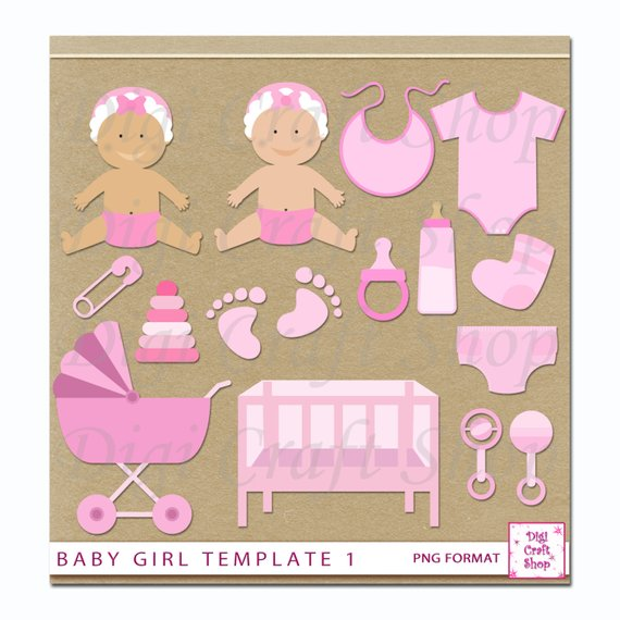 Digital Baby Girl Clipart. Baby, crib, carriage, rattle, footprint.