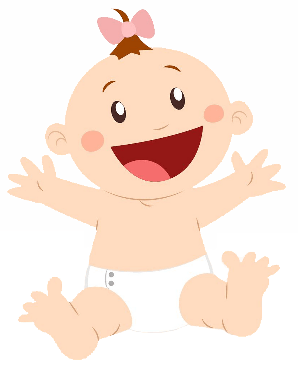 Baby girl in the diaper clipart. Free download..