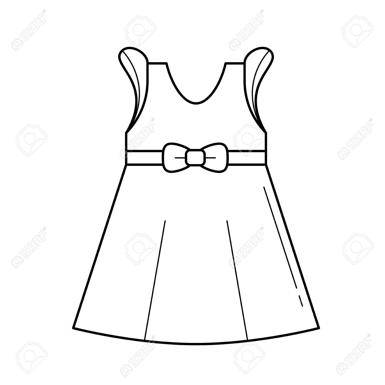 Little girl dress vector line icon isolated on white background.